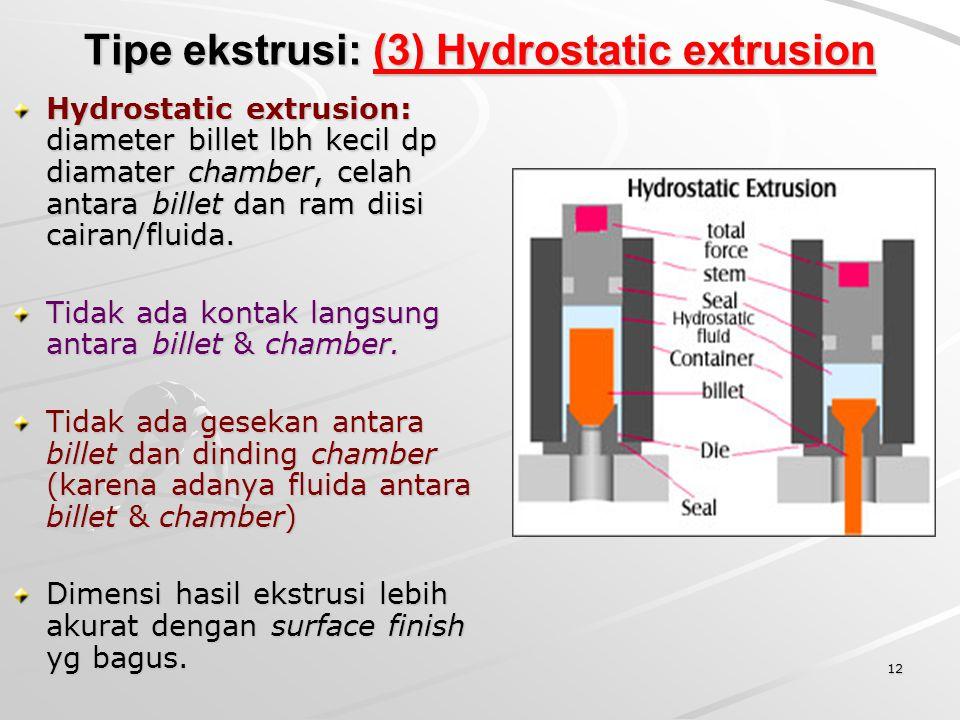 12 Tipe ekstrusi: (3) Hydrostatic extrusion Hydrostatic extrusion: diameter billet lbh kecil dp diamater chamber, celah antara billet dan ram diisi ca
