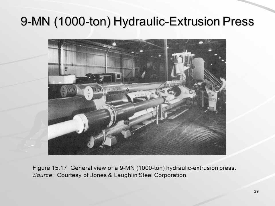 29 9-MN (1000-ton) Hydraulic-Extrusion Press Figure 15.17 General view of a 9-MN (1000-ton) hydraulic-extrusion press. Source: Courtesy of Jones & Lau