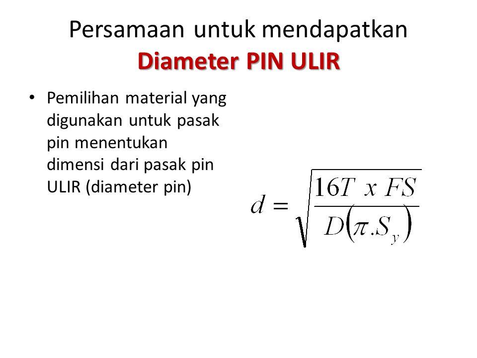 Tegangan pada Pasak PIN ULIR Agar aman maka :