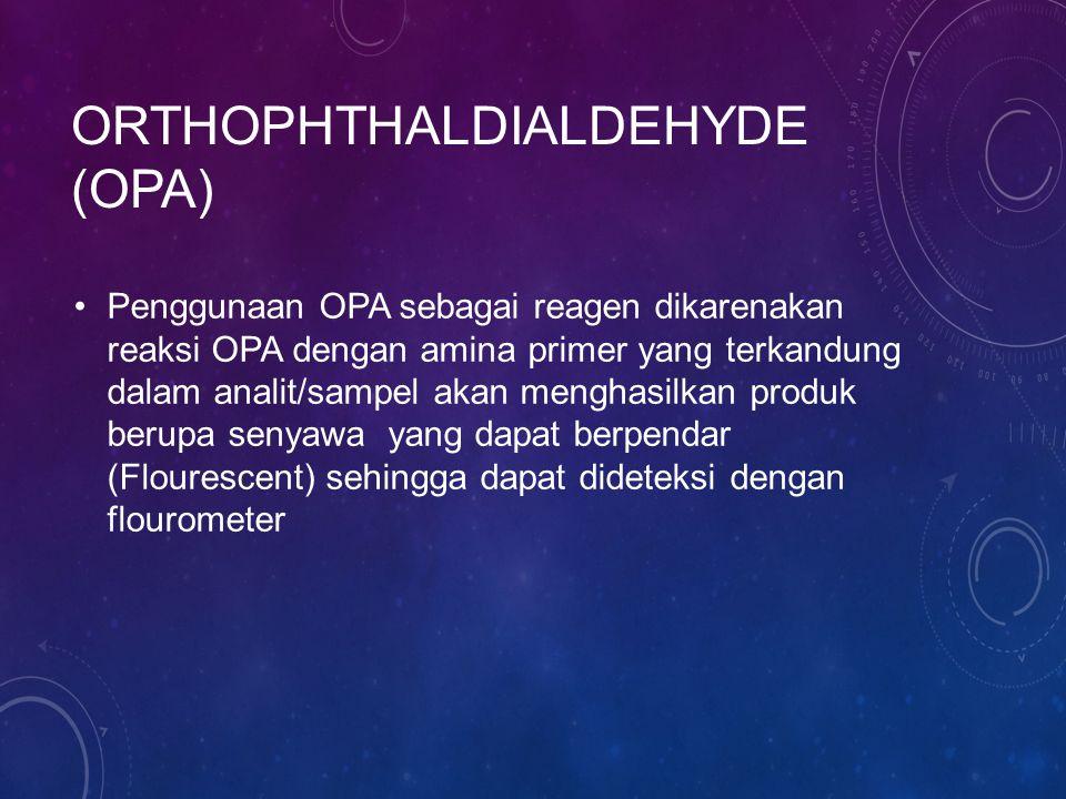 ORTHOPHTHALDIALDEHYDE (OPA) Penggunaan OPA sebagai reagen dikarenakan reaksi OPA dengan amina primer yang terkandung dalam analit/sampel akan menghasilkan produk berupa senyawa yang dapat berpendar (Flourescent) sehingga dapat dideteksi dengan flourometer