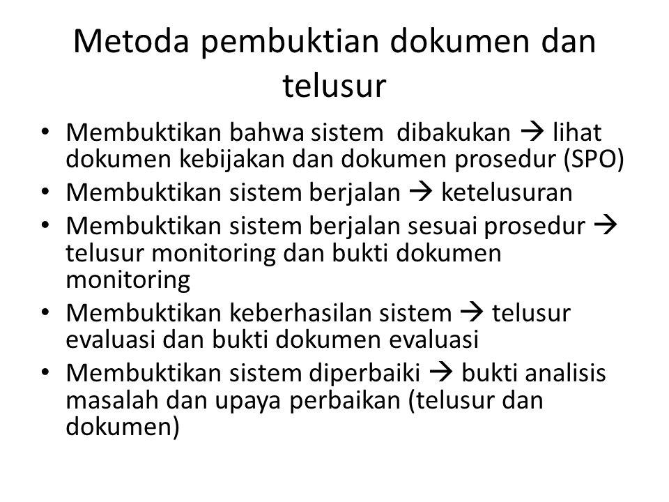 Metoda pembuktian dokumen dan telusur Membuktikan bahwa sistem dibakukan  lihat dokumen kebijakan dan dokumen prosedur (SPO) Membuktikan sistem berja