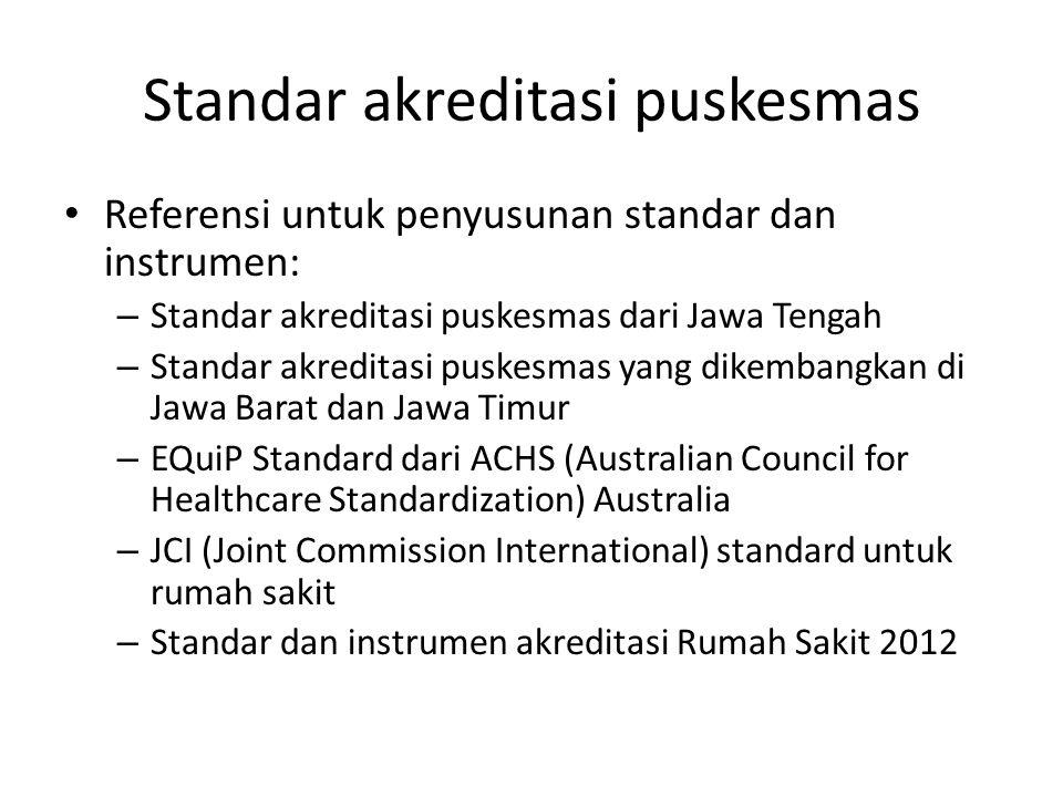 Standar akreditasi puskesmas Referensi untuk penyusunan standar dan instrumen: – Standar akreditasi puskesmas dari Jawa Tengah – Standar akreditasi pu