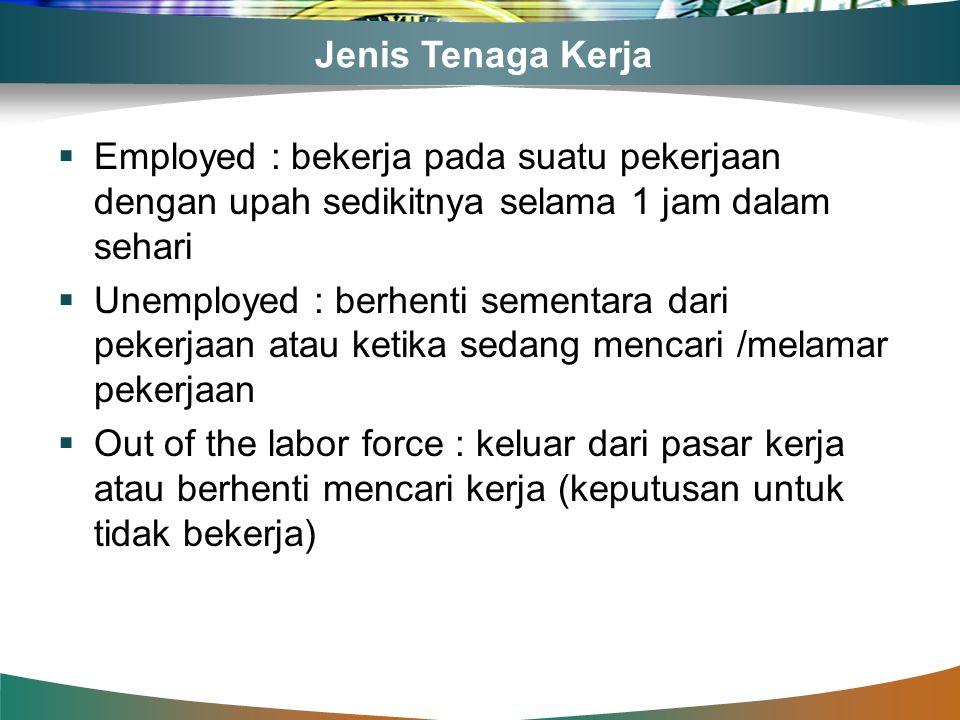 Jenis Tenaga Kerja  Employed : bekerja pada suatu pekerjaan dengan upah sedikitnya selama 1 jam dalam sehari  Unemployed : berhenti sementara dari p