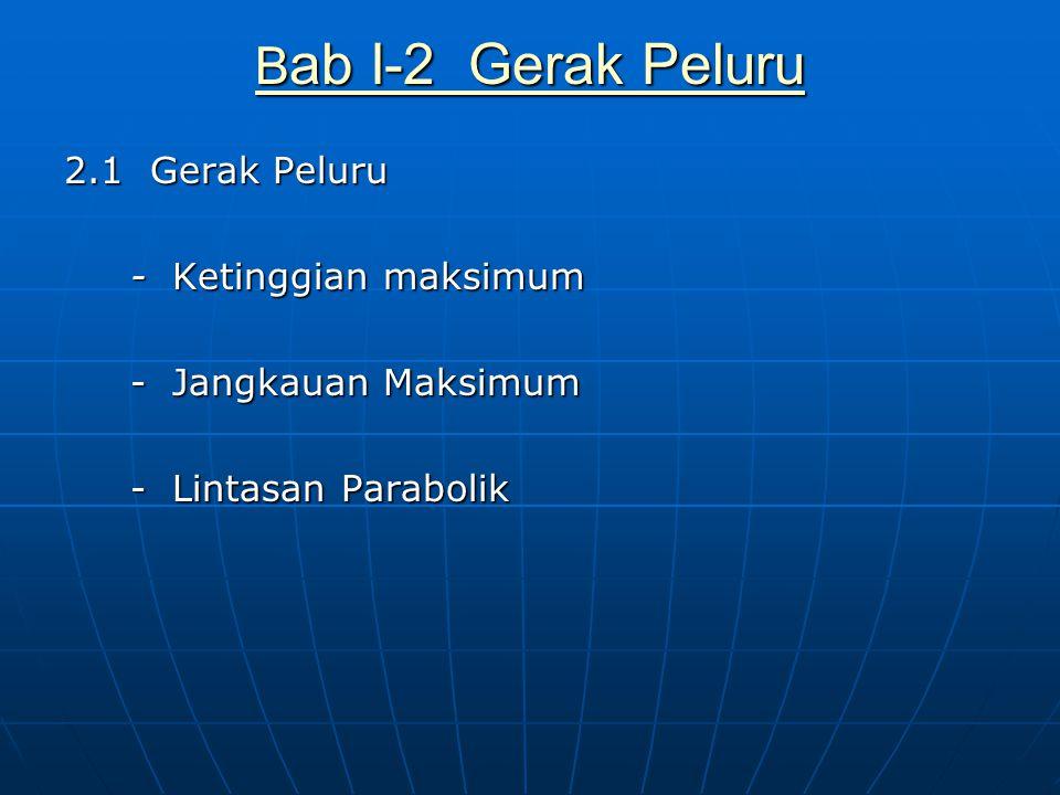2.1 Gerak Peluru - Ketinggian maksimum - Jangkauan Maksimum - Lintasan Parabolik B ab I-2 Gerak Peluru B ab I-2 Gerak Peluru