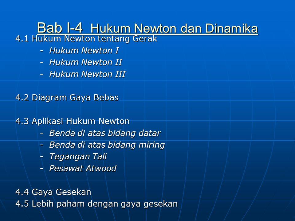 Bab I-4 Hukum Newton dan Dinamika Bab I-4 Hukum Newton dan Dinamika 4.1 Hukum Newton tentang Gerak - Hukum Newton I - Hukum Newton I - Hukum Newton II - Hukum Newton II - Hukum Newton III - Hukum Newton III 4.2 Diagram Gaya Bebas 4.3 Aplikasi Hukum Newton - Benda di atas bidang datar - Benda di atas bidang datar - Benda di atas bidang miring - Benda di atas bidang miring - Tegangan Tali - Tegangan Tali - Pesawat Atwood - Pesawat Atwood 4.4 Gaya Gesekan 4.5 Lebih paham dengan gaya gesekan