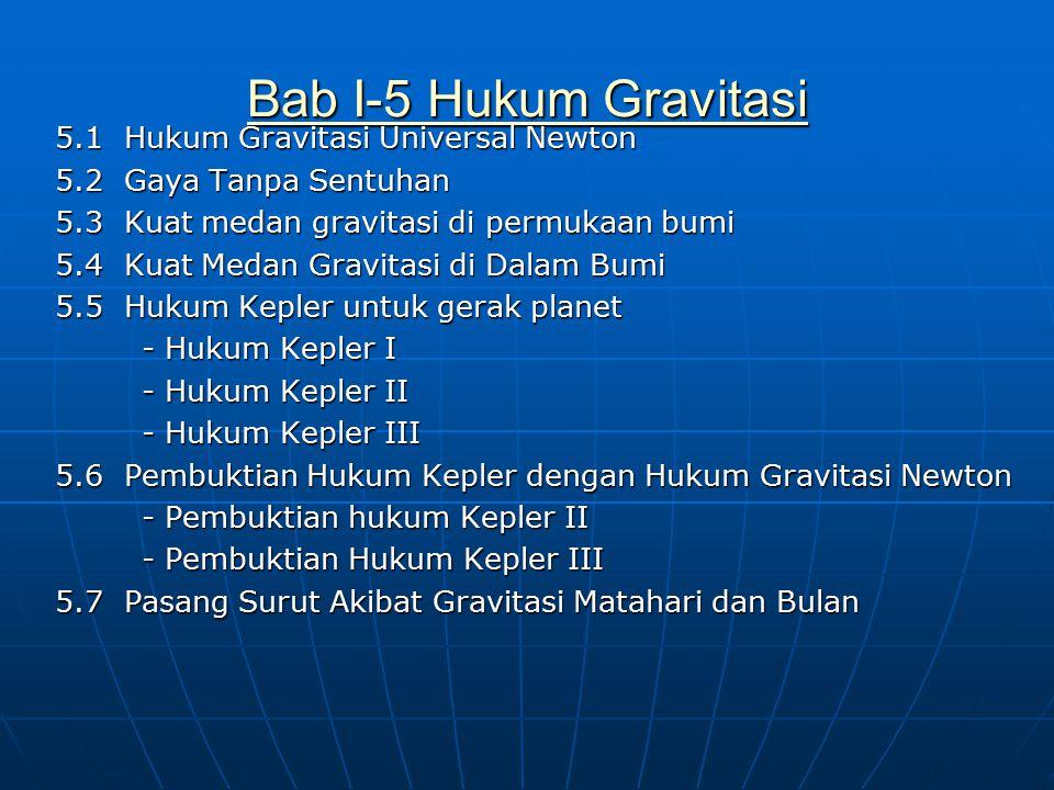 Bab I-5 Hukum Gravitasi Bab I-5 Hukum Gravitasi 5.1 Hukum Gravitasi Universal Newton 5.2 Gaya Tanpa Sentuhan 5.3 Kuat medan gravitasi di permukaan bum