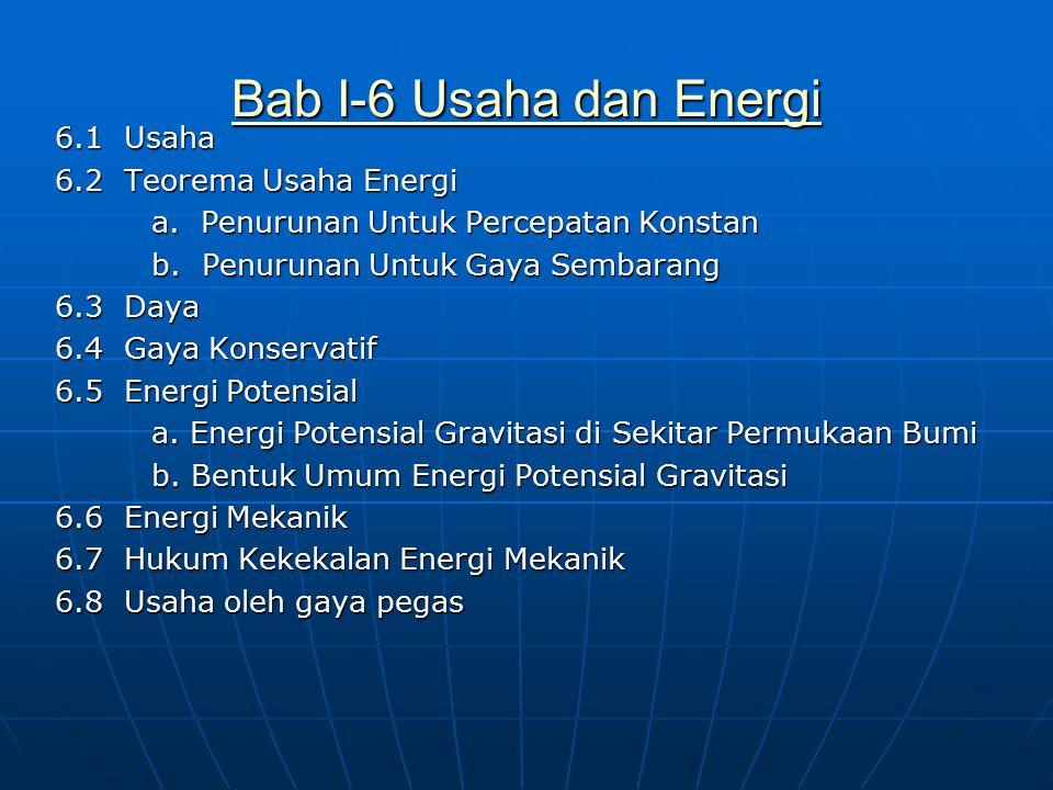 Bab I-6 Usaha dan Energi Bab I-6 Usaha dan Energi 6.1 Usaha 6.2 Teorema Usaha Energi a. Penurunan Untuk Percepatan Konstan a. Penurunan Untuk Percepat