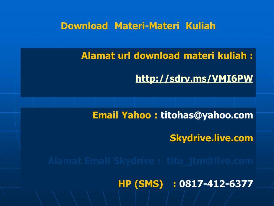 Download Materi-Materi Kuliah Alamat url download materi kuliah : http://sdrv.ms/VMI6PW Email Yahoo : titohas@yahoo.com Skydrive.live.com Alamat Email