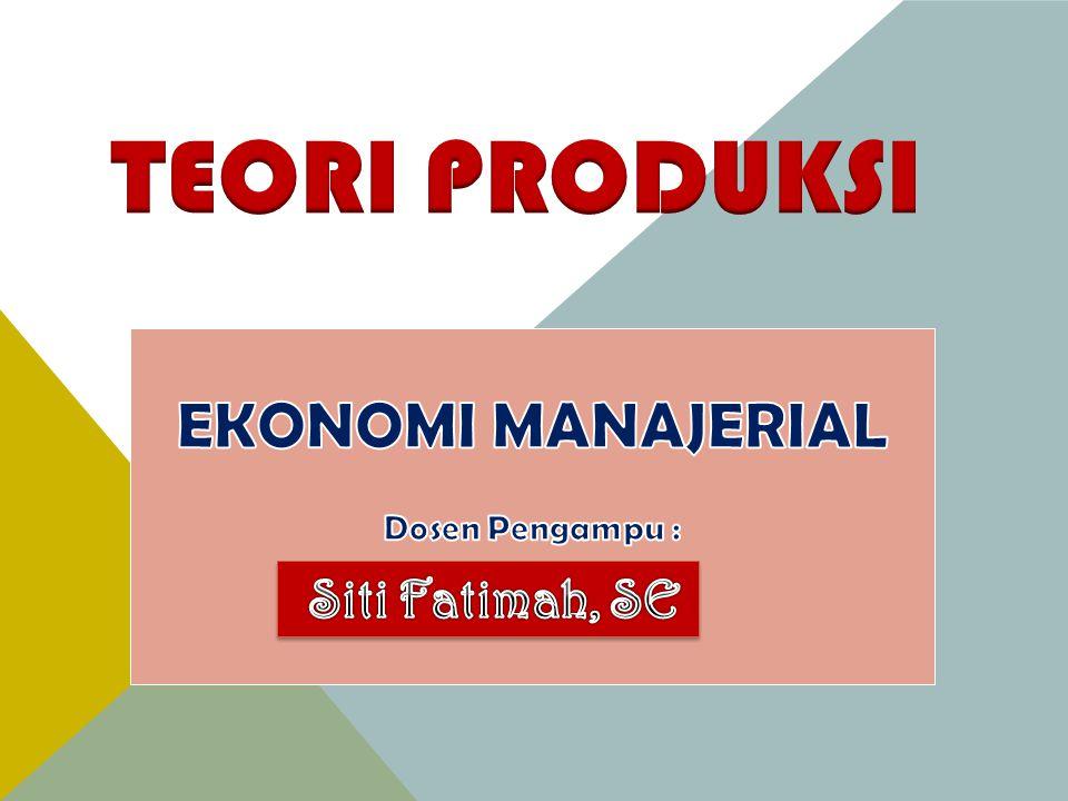 Referensi data pendukung :  Buku Ekonomi Manajerial  Handout Mikro Semester 2 STIE Putra Bangsa Kebumen  Goegel Teori Produksi  Handout Teori Produksi