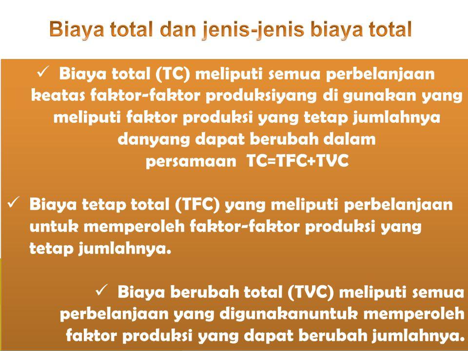 Biaya total (TC) meliputi semua perbelanjaan keatas faktor-faktor produksiyang di gunakan yang meliputi faktor produksi yang tetap jumlahnya danyang d