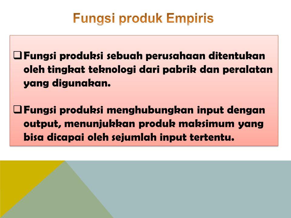  Fungsi produksi sebuah perusahaan ditentukan oleh tingkat teknologi dari pabrik dan peralatan yang digunakan.  Fungsi produksi menghubungkan input