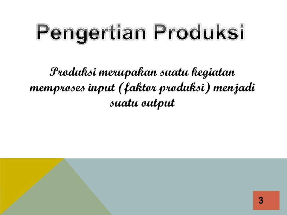  Fungsi produksi menentukan tingkat output maksimum yang bisa diproduksi dengan sejumlah input tertentu atau sebaliknya, jumlah input minimum yang diperlukan untuk memproduksi suatu tingkat output tertentu.