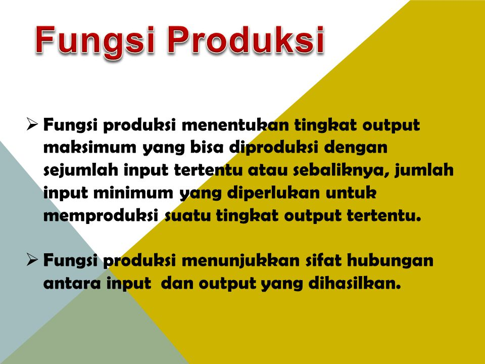 Q = f (K, L, R, T) Q = Output (hasil produksi) K = Kapital/modal L = Labour/tenaga kerja R = Resources/sumber daya T = Teknologi  Fungsi produksi menghubungkan output/input untuk setiap sistem produksi yang merupakan suatu fungsi dari tingkat teknologi pabrik, peralatan, tenaga kerja, bahan-bahan baku dan lain-lain.