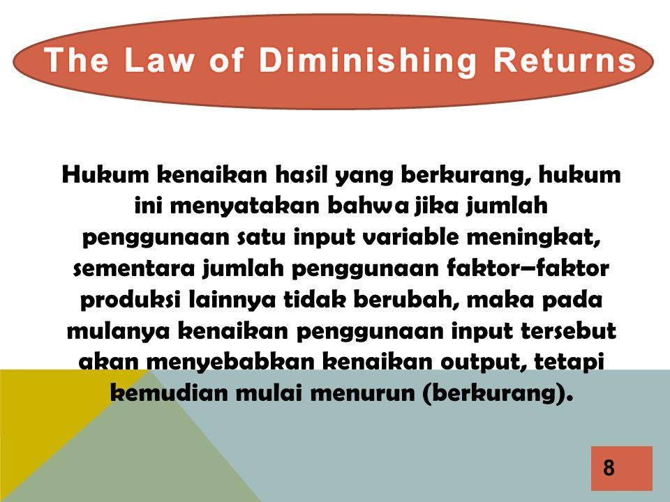 8 Hukum kenaikan hasil yang berkurang, hukum ini menyatakan bahwa jika jumlah penggunaan satu input variable meningkat, sementara jumlah penggunaan fa