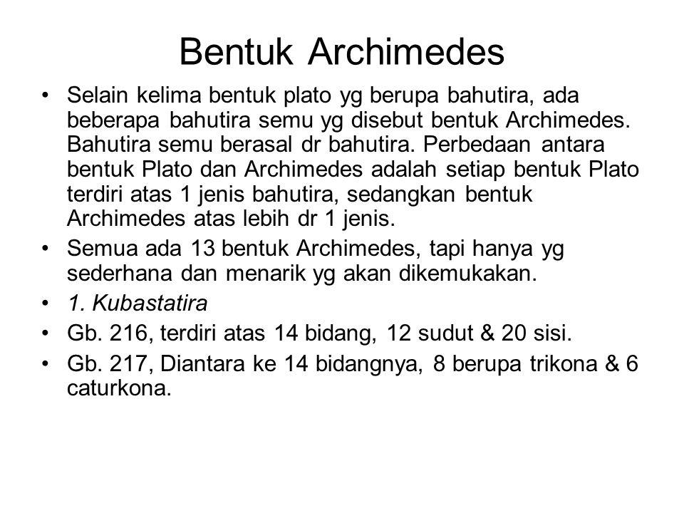 Bentuk Archimedes Selain kelima bentuk plato yg berupa bahutira, ada beberapa bahutira semu yg disebut bentuk Archimedes. Bahutira semu berasal dr bah