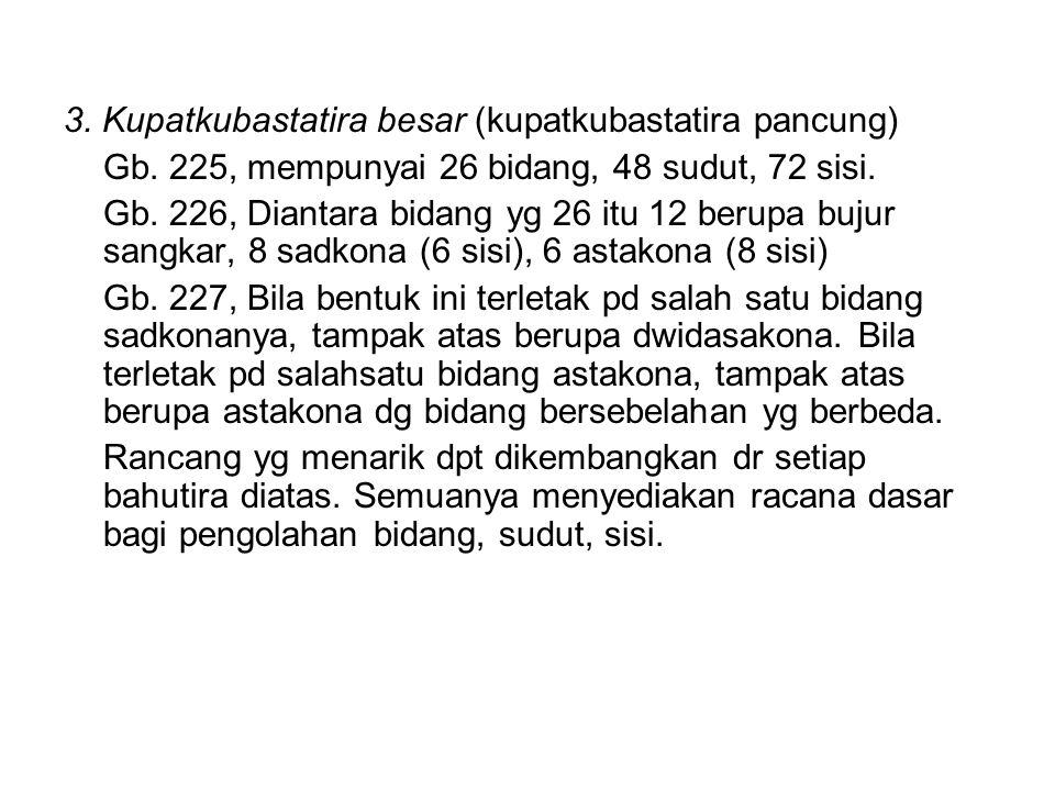 3. Kupatkubastatira besar (kupatkubastatira pancung) Gb. 225, mempunyai 26 bidang, 48 sudut, 72 sisi. Gb. 226, Diantara bidang yg 26 itu 12 berupa buj
