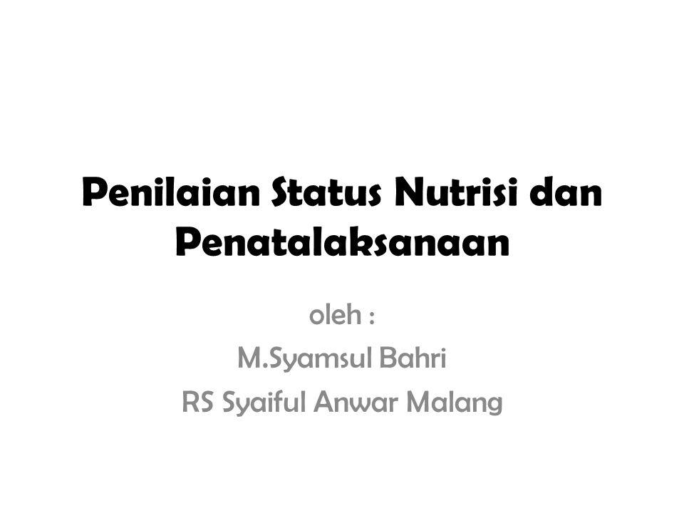 Pendahuluan Status nutrisi individu dipengaruhi oleh berbagai faktor : - Intake makanan - Jumlah dan kualitas makanan - Kondisi individu