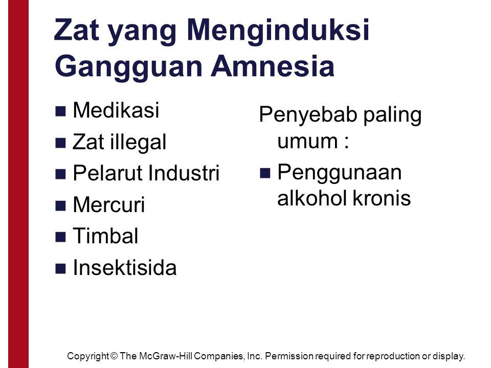 Zat yang Menginduksi Gangguan Amnesia Medikasi Zat illegal Pelarut Industri Mercuri Timbal Insektisida Penyebab paling umum : Penggunaan alkohol kroni