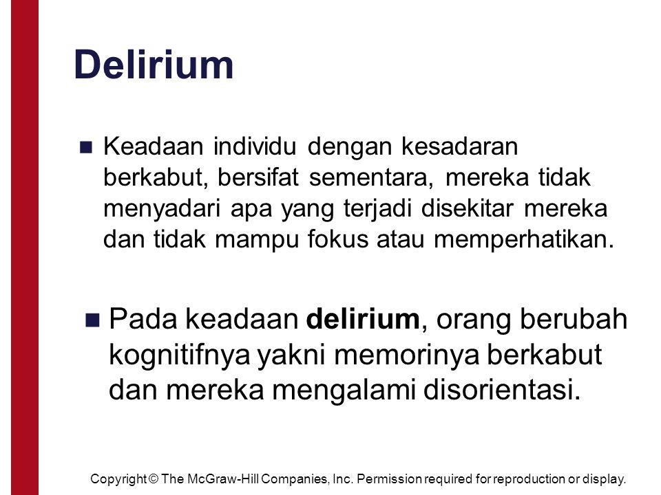 delirium Disebabkan adanya perubahan metabolisme karena faktor seperti : intoksikasi zat putus zat trauma kepala demam tinggi defisiensi vitamin Delirium