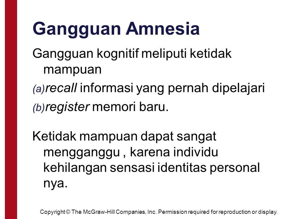 Gangguan Amnesia Gangguan kognitif meliputi ketidak mampuan (a) recall informasi yang pernah dipelajari (b) register memori baru. Ketidak mampuan dapa