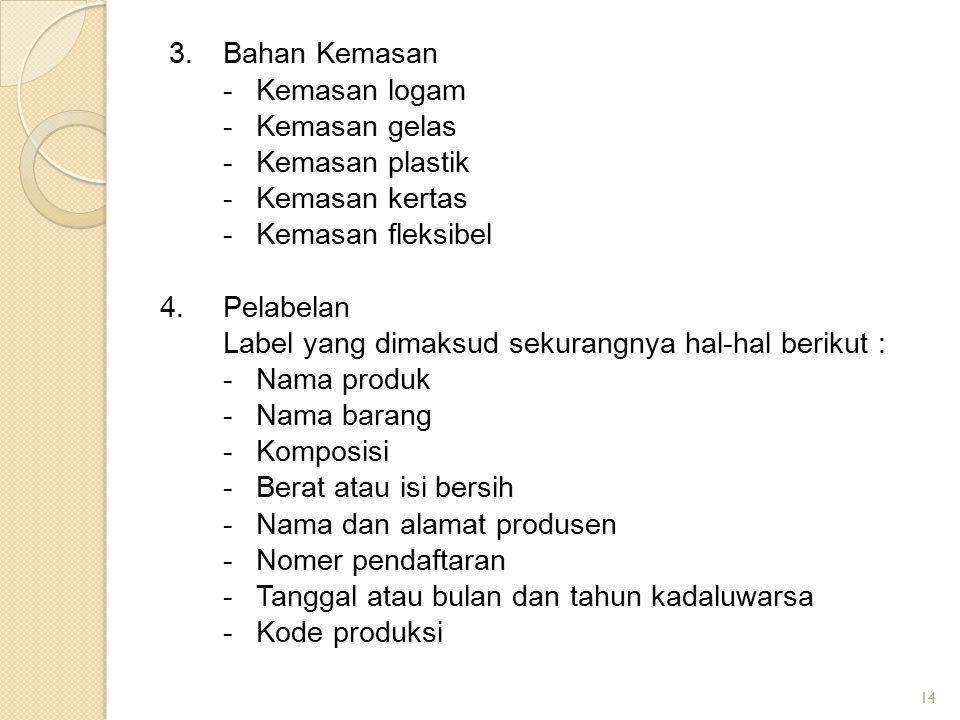14 3.Bahan Kemasan -Kemasan logam -Kemasan gelas -Kemasan plastik -Kemasan kertas -Kemasan fleksibel 4.Pelabelan Label yang dimaksud sekurangnya hal-h