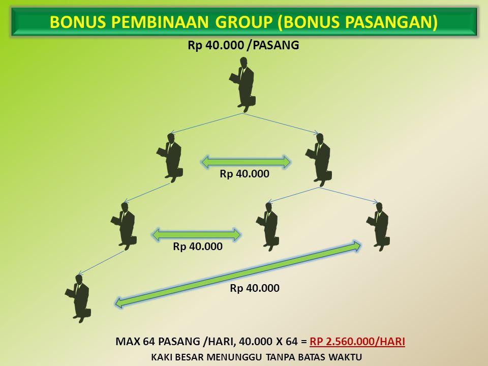 BONUS PEMBINAAN GROUP (BONUS PASANGAN) Rp 40.000 /PASANG Rp 40.000 MAX 64 PASANG /HARI, 40.000 X 64 = RP 2.560.000/HARI KAKI BESAR MENUNGGU TANPA BATAS WAKTU