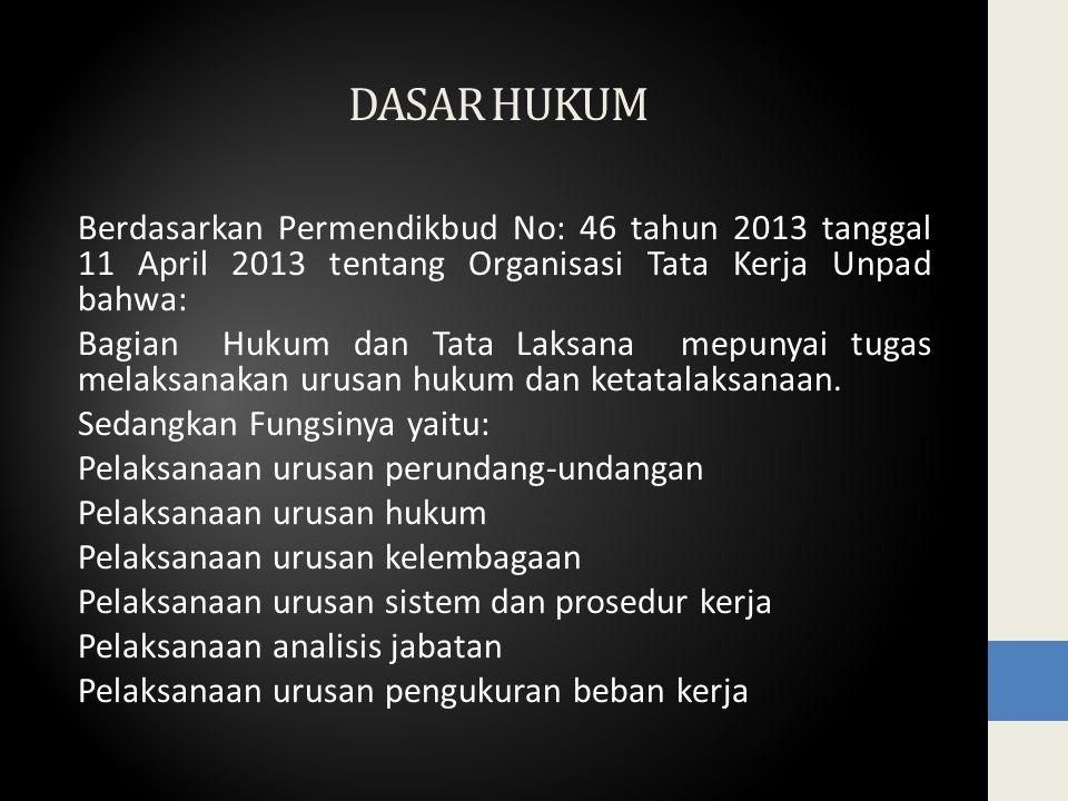 DASAR HUKUM Berdasarkan Permendikbud No: 46 tahun 2013 tanggal 11 April 2013 tentang Organisasi Tata Kerja Unpad bahwa: Bagian Hukum dan Tata Laksana