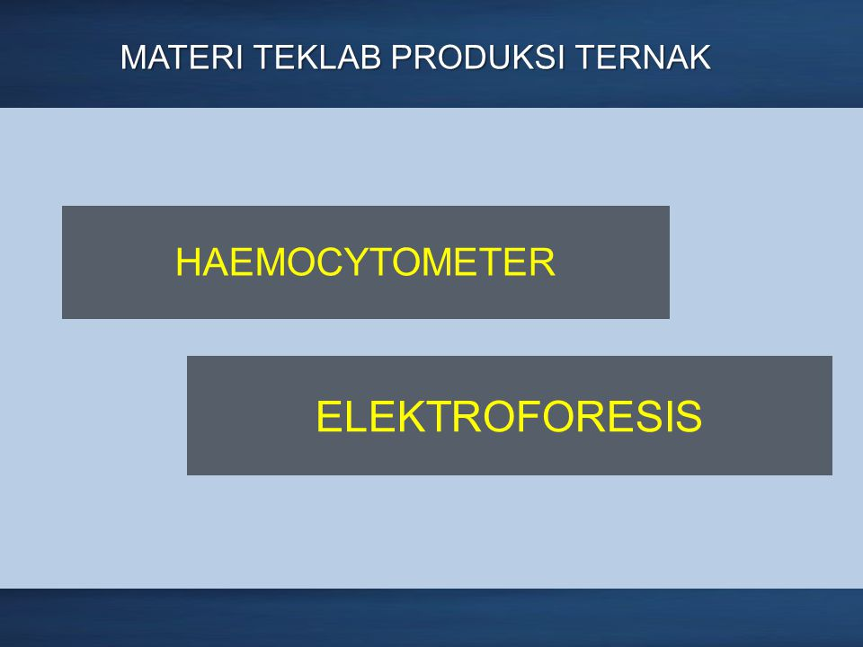 Page 3 MATERI TEKLAB PRODUKSI TERNAK HAEMOCYTOMETER ELEKTROFORESIS