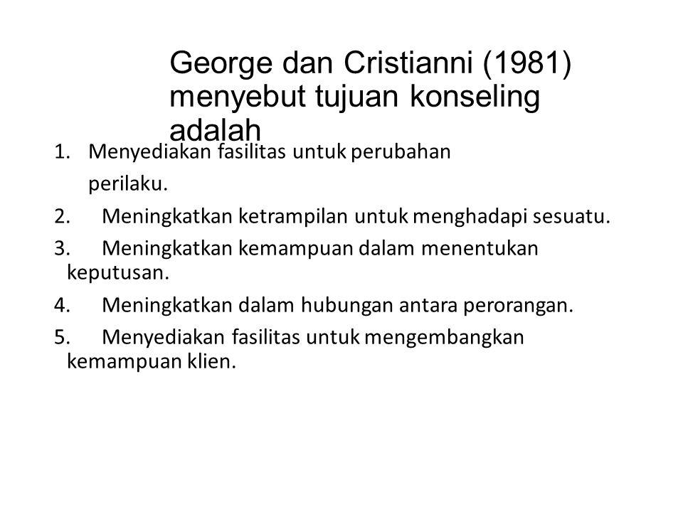 George dan Cristianni (1981) menyebut tujuan konseling adalah 1.Menyediakan fasilitas untuk perubahan perilaku. 2. Meningkatkan ketrampilan untuk meng