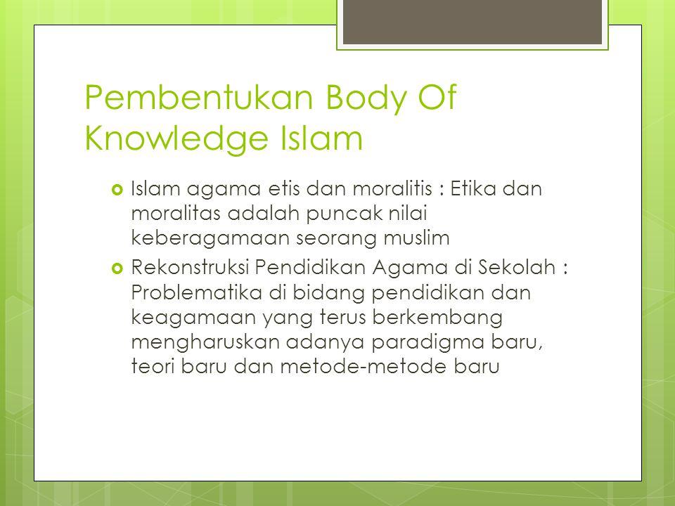 Pembentukan Body Of Knowledge Islam  Islam agama etis dan moralitis : Etika dan moralitas adalah puncak nilai keberagamaan seorang muslim  Rekonstru