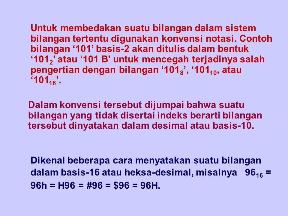 Dikenal beberapa cara menyatakan suatu bilangan dalam basis-16 atau heksa-desimal, misalnya 96 16 = 96h = H96 = #96 = $96 = 96H. Untuk membedakan suat