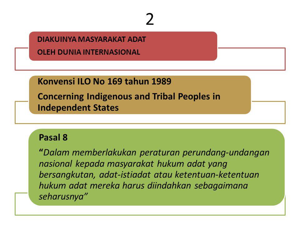 2 DIAKUINYA MASYARAKAT ADAT OLEH DUNIA INTERNASIONAL Konvensi ILO No 169 tahun 1989 Concerning Indigenous and Tribal Peoples in Independent States Pas
