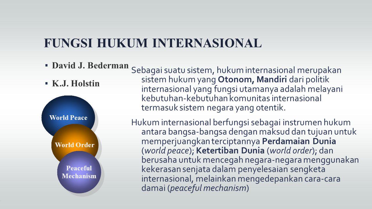 FUNGSI HUKUM INTERNASIONAL  David J. Bederman  K.J. Holstin Sebagai suatu sistem, hukum internasional merupakan sistem hukum yang Otonom, Mandiri da
