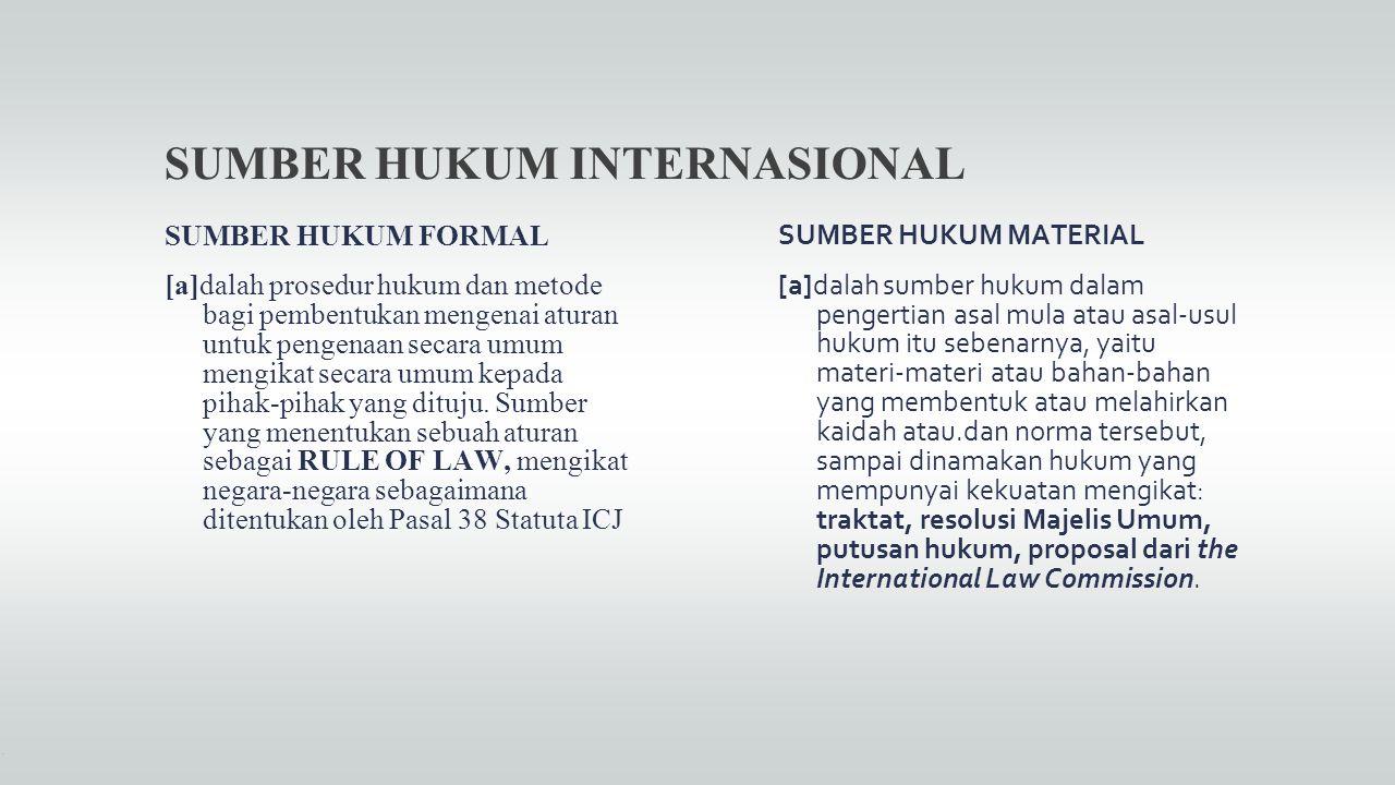 SUMBER HUKUM INTERNASIONAL SUMBER HUKUM FORMAL [a]dalah prosedur hukum dan metode bagi pembentukan mengenai aturan untuk pengenaan secara umum mengika