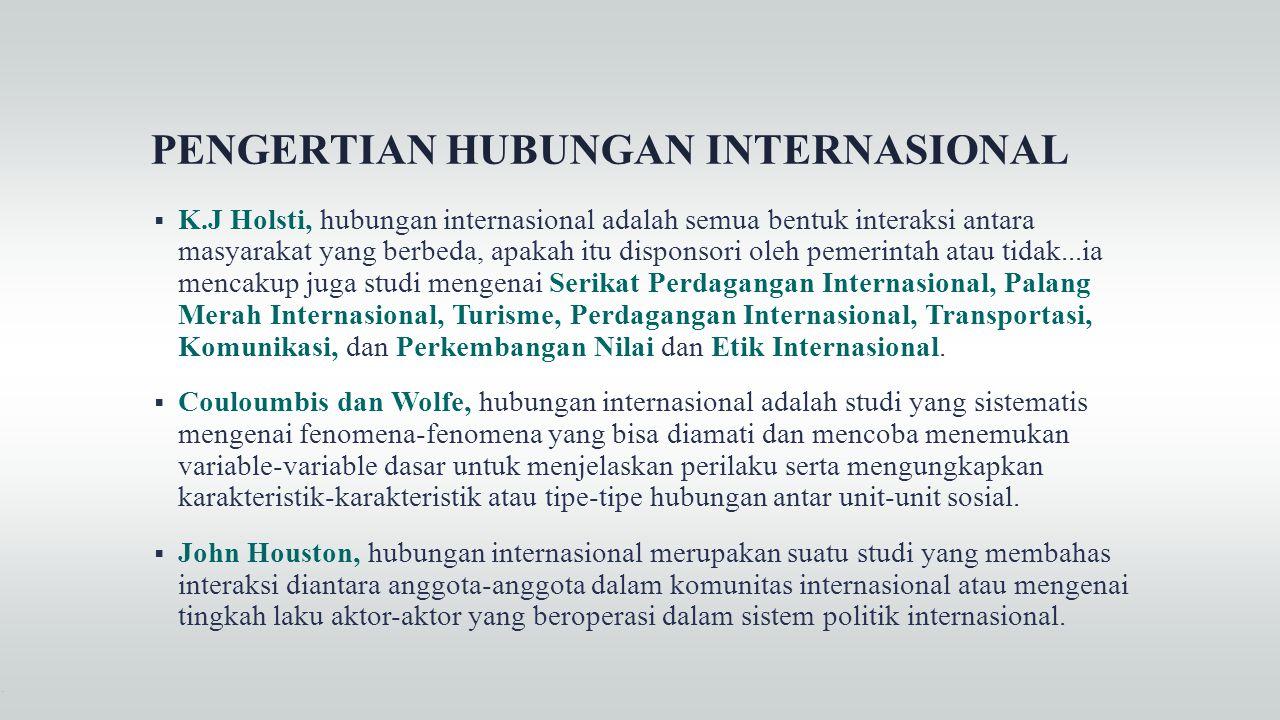 PENGERTIAN HUBUNGAN INTERNASIONAL  K.J Holsti, hubungan internasional adalah semua bentuk interaksi antara masyarakat yang berbeda, apakah itu dispon