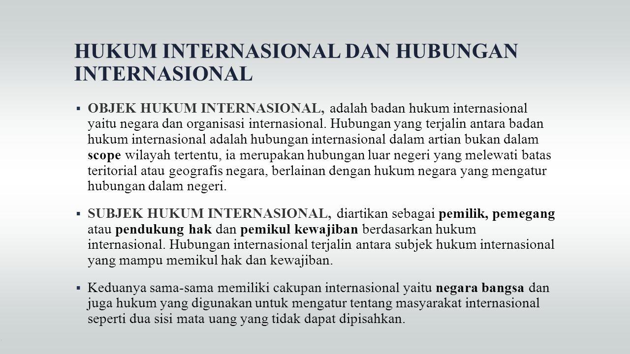 HUKUM INTERNASIONAL DAN HUBUNGAN INTERNASIONAL  OBJEK HUKUM INTERNASIONAL, adalah badan hukum internasional yaitu negara dan organisasi internasional