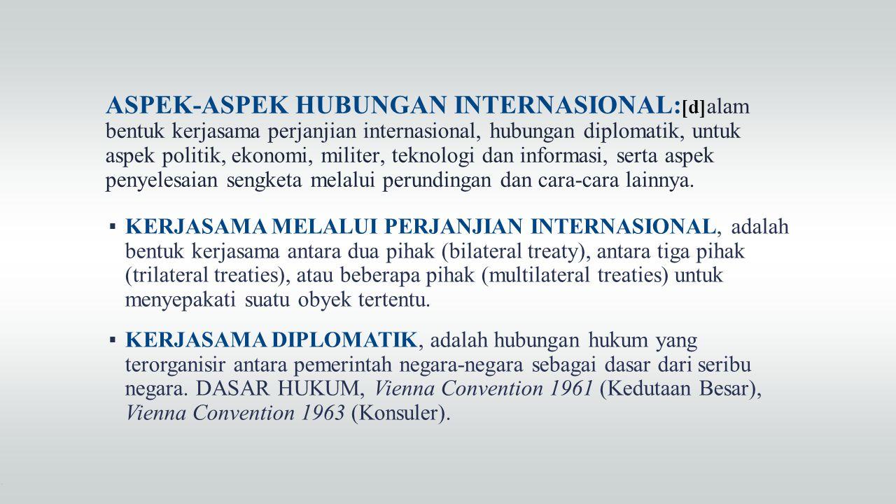 ASPEK-ASPEK HUBUNGAN INTERNASIONAL: [d] alam bentuk kerjasama perjanjian internasional, hubungan diplomatik, untuk aspek politik, ekonomi, militer, te