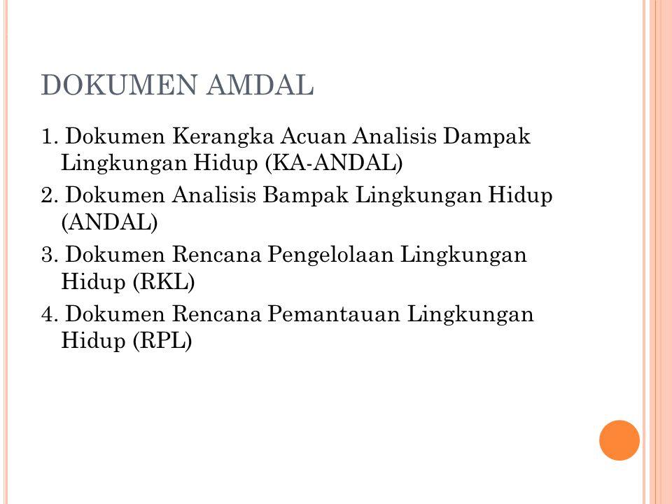 DOKUMEN AMDAL 1. Dokumen Kerangka Acuan Analisis Dampak Lingkungan Hidup (KA-ANDAL) 2. Dokumen Analisis Bampak Lingkungan Hidup (ANDAL) 3. Dokumen Ren