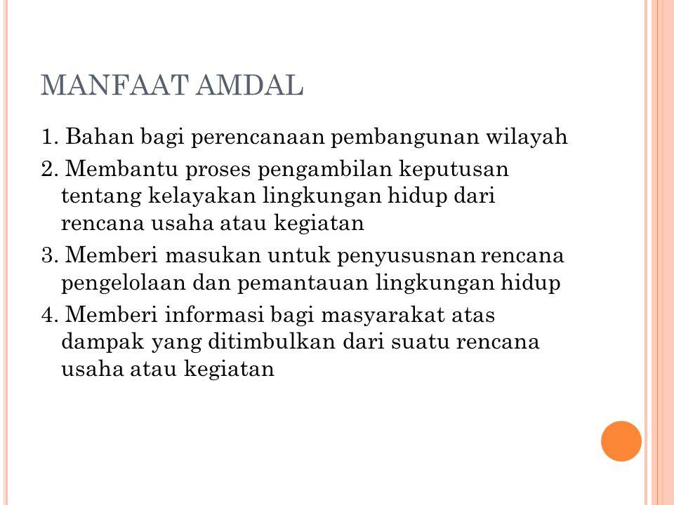 MANFAAT AMDAL 1.Bahan bagi perencanaan pembangunan wilayah 2.