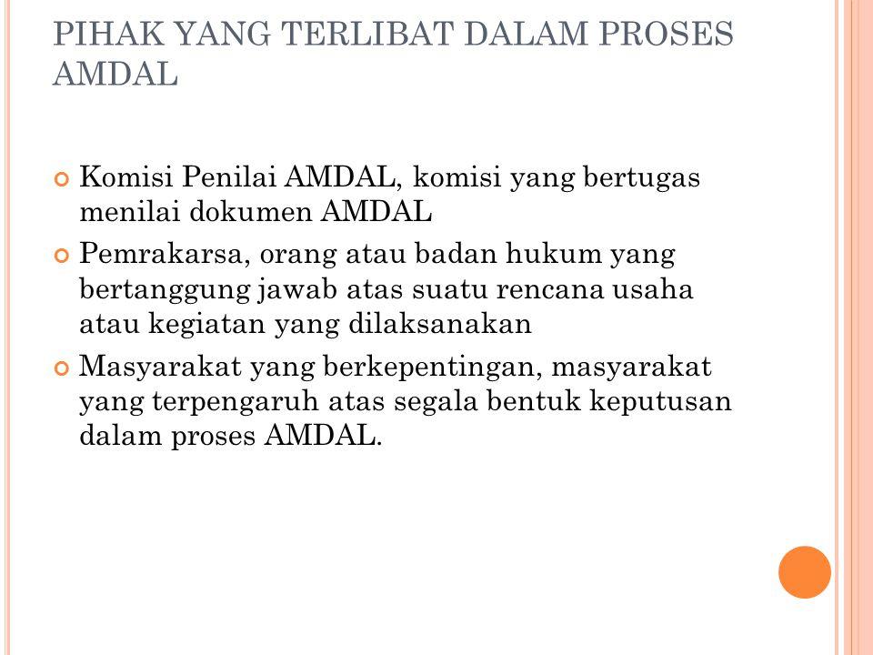 PIHAK YANG TERLIBAT DALAM PROSES AMDAL Komisi Penilai AMDAL, komisi yang bertugas menilai dokumen AMDAL Pemrakarsa, orang atau badan hukum yang bertan