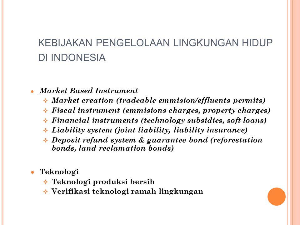 KEBIJAKAN PENGELOLAAN LINGKUNGAN HIDUP DI INDONESIA l Market Based Instrument v Market creation (tradeable emmision/effluents permits) v Fiscal instru