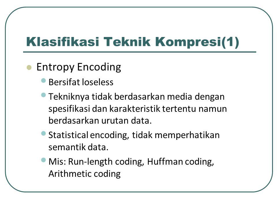 Klasifikasi Teknik Kompresi(1) Entropy Encoding Bersifat loseless Tekniknya tidak berdasarkan media dengan spesifikasi dan karakteristik tertentu namu