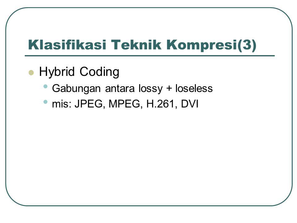 Klasifikasi Teknik Kompresi(3) Hybrid Coding Gabungan antara lossy + loseless mis: JPEG, MPEG, H.261, DVI