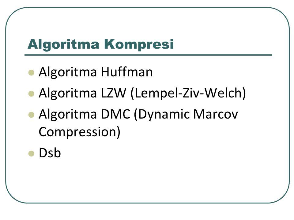 Algoritma Kompresi Algoritma Huffman Algoritma LZW (Lempel-Ziv-Welch) Algoritma DMC (Dynamic Marcov Compression) Dsb