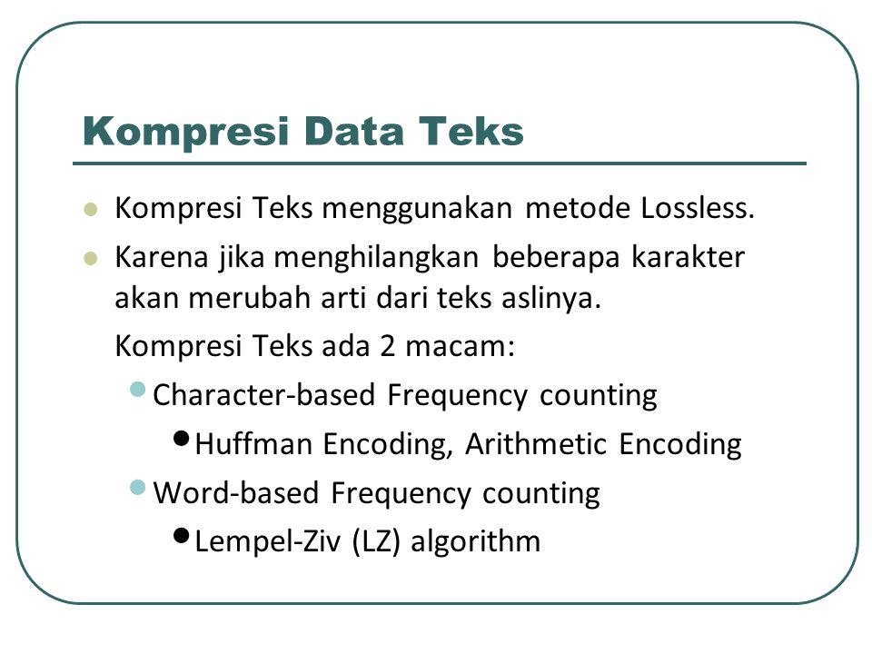 Kompresi Data Teks Kompresi Teks menggunakan metode Lossless. Karena jika menghilangkan beberapa karakter akan merubah arti dari teks aslinya. Kompres