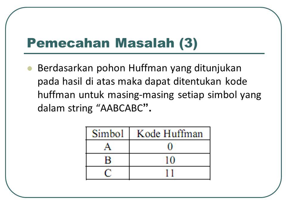 Pemecahan Masalah (3) Berdasarkan pohon Huffman yang ditunjukan pada hasil di atas maka dapat ditentukan kode huffman untuk masing-masing setiap simbo