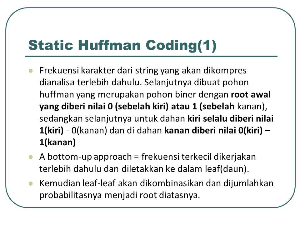 Static Huffman Coding(1) Frekuensi karakter dari string yang akan dikompres dianalisa terlebih dahulu. Selanjutnya dibuat pohon huffman yang merupakan