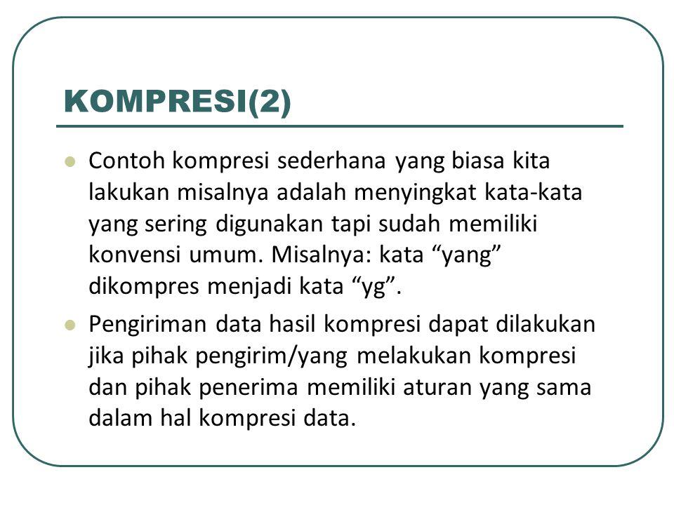 KOMPRESI(3) Pihak pengirim harus menggunakan algoritma kompresi data yang sudah baku dan pihak penerima juga menggunakan teknik dekompresi data yang sama dengan pengirim sehingga data yang diterima dapat dibaca/di-dekode kembali dengan benar.