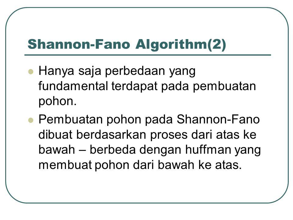 Shannon-Fano Algorithm(2) Hanya saja perbedaan yang fundamental terdapat pada pembuatan pohon. Pembuatan pohon pada Shannon-Fano dibuat berdasarkan pr