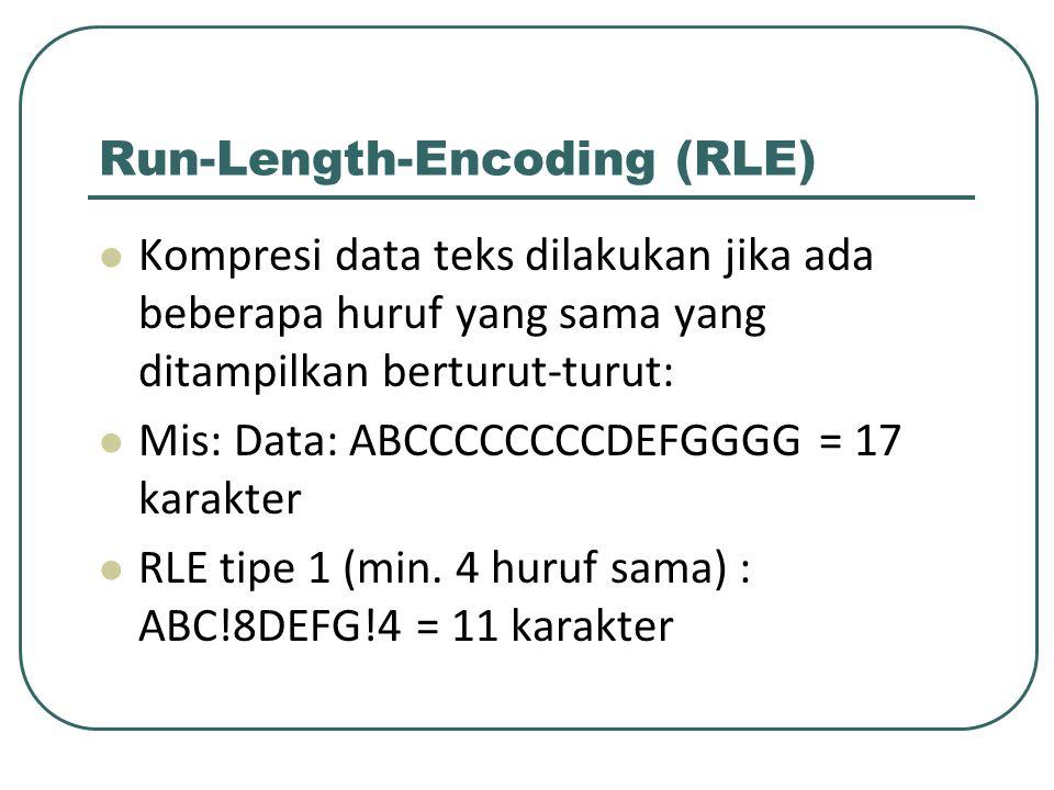Run-Length-Encoding (RLE) Kompresi data teks dilakukan jika ada beberapa huruf yang sama yang ditampilkan berturut-turut: Mis: Data: ABCCCCCCCCDEFGGGG